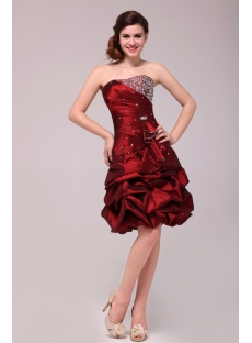 Burgundy Junior Pick up Prom Dresses Short 2013