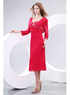 Burgundy Mother of the Bride Dresses with Jackets Tea Length