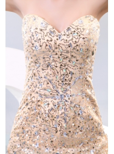 Champagne Pretty Sequins Vintage Inspired Evening Dresses with Train