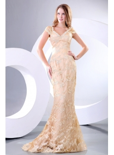 Champagne Sheath Lace Plus Size Celebrity Dress with Cap Sleeves