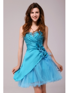 Charming Blue Mini Sweet 15 Gown with Sweetheart