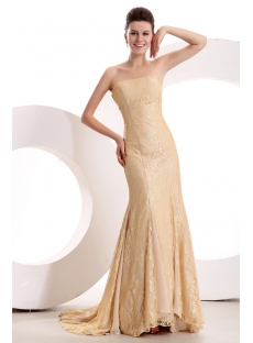 Charming Champagne Lace Sheath Evening Dress Formal 2014