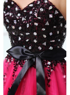 Charming Sequined Black and Hot Pink Sweet 16 Dress for Guests