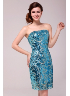 Cheap Brilliant Blue & Silver Sequined Plus Size Prom Dresses