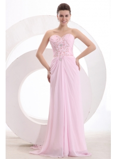 Chic Pink Chiffon Column Long Engage Dress