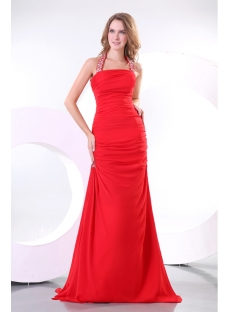 Chic Red Halter A-line Chiffon Evening Gown 2014 with T-Back