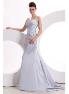 Classy Silver Sheath Strapless Celebrity Dress