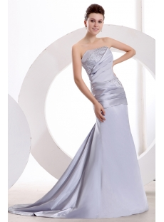 Classy Silver Sheath Strapless Celebrity Dress