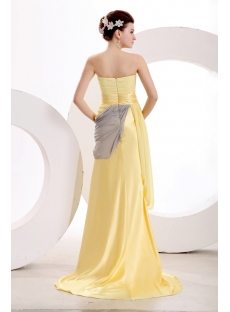 Concise Yellow Military Prom Dress with Slit