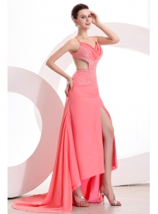Coral 2014 Summer Sexy Cocktail Dress with Criss-cross