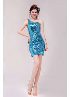 Cute Blue One Shoulder Mini Cocktail Dress