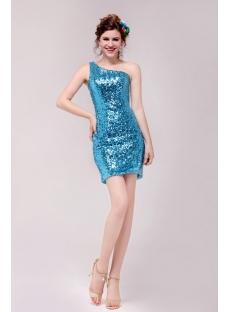 Cute Blue One Shoulder Mini Cocktail Dress