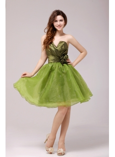 Cute Flare Olive Short Cocktail Dress for Girls