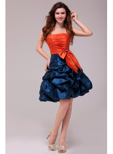Cute Orange and Teal Short Graduation Dress