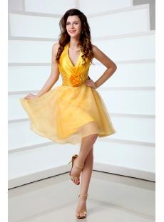 Cute Sunflowers Halter Mini Homecoming Dress