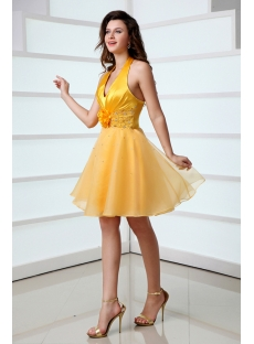 Cute Sunflowers Halter Mini Homecoming Dress