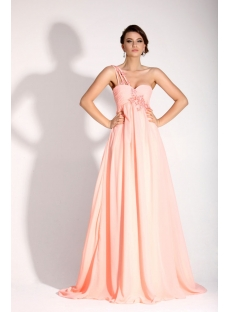 Delicate Pink One Shoulder Full Figure Formal Party Dress