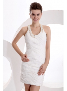 Detachable Train White Sheath Open Back with Keyhole
