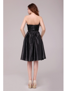Dramatic Taffeta Knee Length Black Graduation Dress for for 8th Grade
