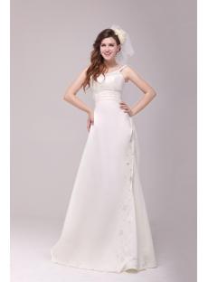 Elegant A-line 2014 Beach Mature Bride Wedding Dress
