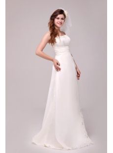 Elegant A-line 2014 Beach Mature Bride Wedding Dress