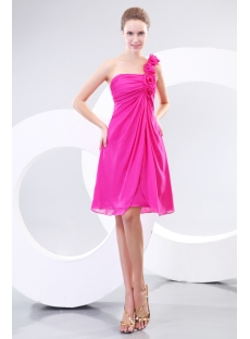 Elegant A-line Short One Shoulder Bridesmaid Gowns for Petite
