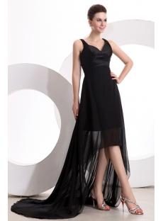 Elegant Black Chiffon Hi-Lo Prom Dresses
