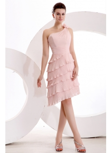 Elegant Dusty Rose One Shoulder Short Bridesmaid Dress
