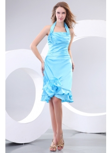 Elegant Halter Blue Short Homecoming Dresses