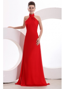 Elegant High-neckline Red Chiffon A-line Evening Dress