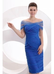 Elegant Off Shoulder Royal Blue Mother of Groom Dress