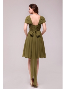 Elegant Olive Green Short Chiffon Prom Dress with Cap Sleeves
