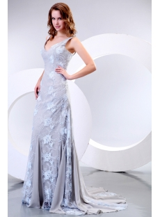Elegant V-neckline Gray Lace Formal Evening Dress