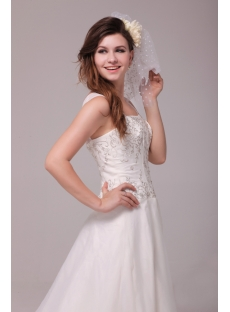 Exquise Straps Embroidered Organza Wedding Dress with Train