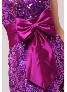 Fabulous Strapless Purple Sequin Prom Dress with Bow