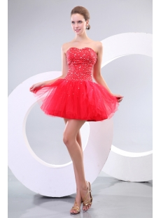 Fancy Beaded Red Puffy Mini Cocktail Dress