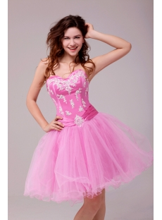 Fancy Pink Short Sweet 15 Dress