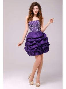 Fancy Purple Bubble Short Cocktail Dress