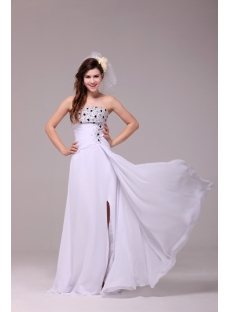 Fancy Strapless Chiffon Summer Wedding Dress for Beach with Slit