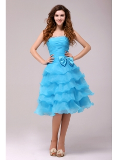 Fantastic Blue Knee Length Junior Prom Dress