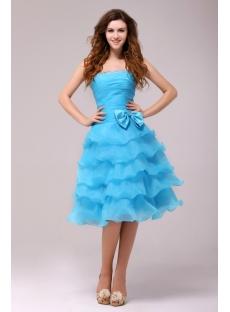Fantastic Blue Knee Length Junior Prom Dress