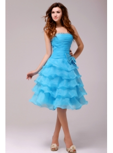 Fantastic Blue Knee Length Junior Prom Dress 1st Dress Com