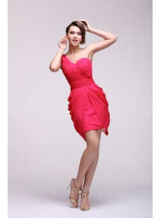 Flowing Pretty Short One Shoulder Bridesmaid Dresses Cheap