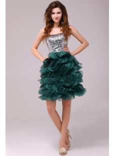 Fresh Hunt Green Puffy Cocktail Dress for High School