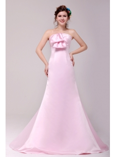 Gorgeous Pink Strapless A-line Prom Gown 2014