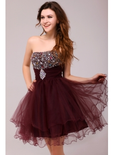 Graceful Beaded Burgundy Sweetheart Cocktail Dress