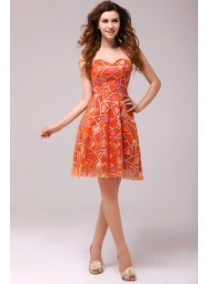 Graceful Orange Sweetheart Homecoming Dress
