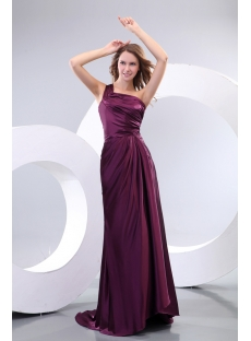 Grape One Shoulder Evening Dresses for Wedding