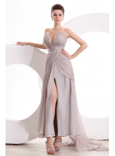 Gray Chiffon Sexy Evening Dress for Full Figure