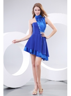 High Neckline Royal Best Short Prom Dress